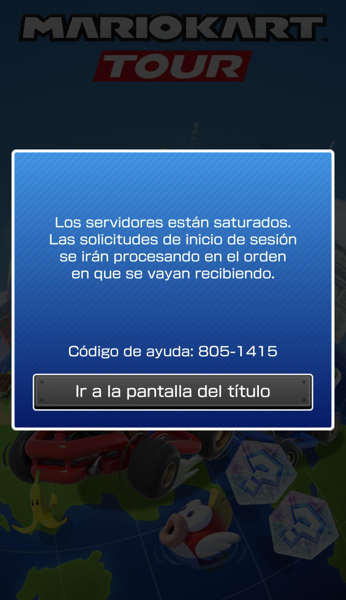 Error de servidores saturados al abrir la App de Mario Kart Tour