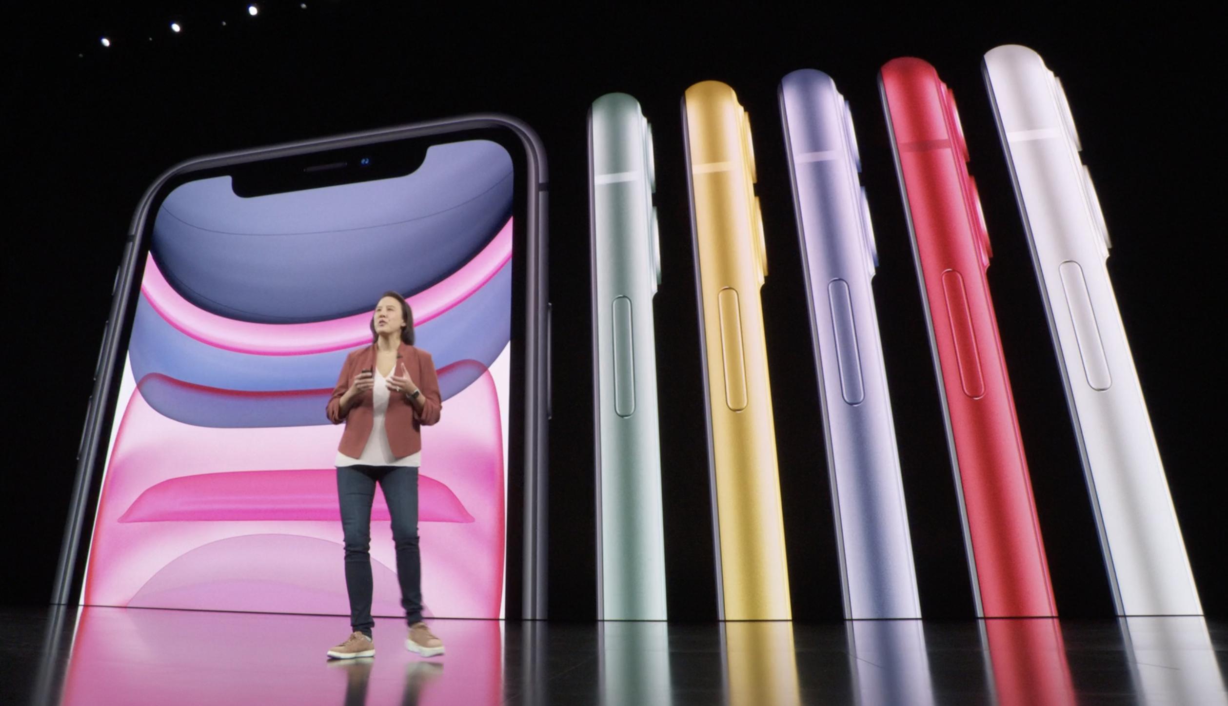 Colores del iPhone 11 (Keynote de Apple)