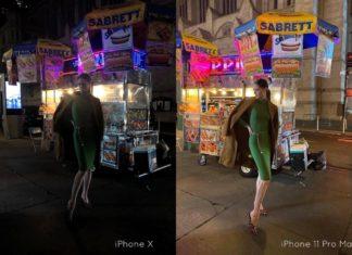 Foto comparativa del modo nocturno entre un iPhone X y un iPhone 11 Pro Max