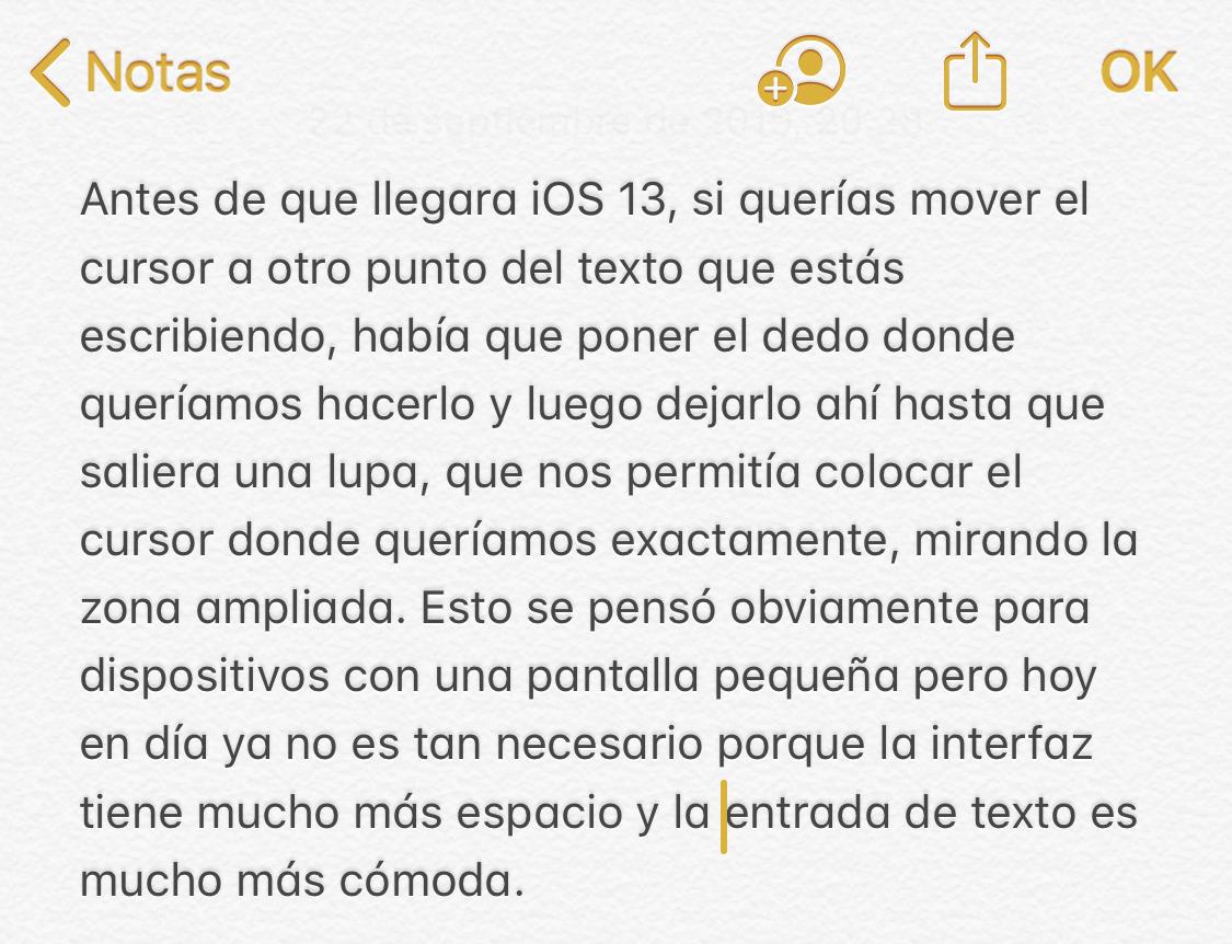 Poniendo el cursor donde uno quiere en iOS 13