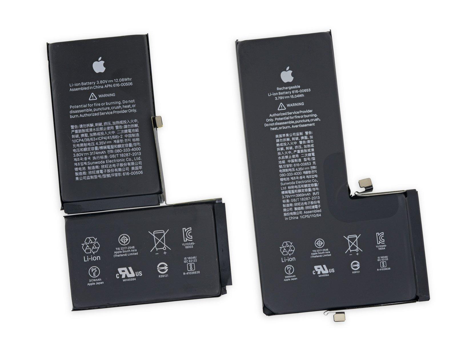 Batería del iPhone XS (izquierda) y iPhone 11 Pro (derecha)