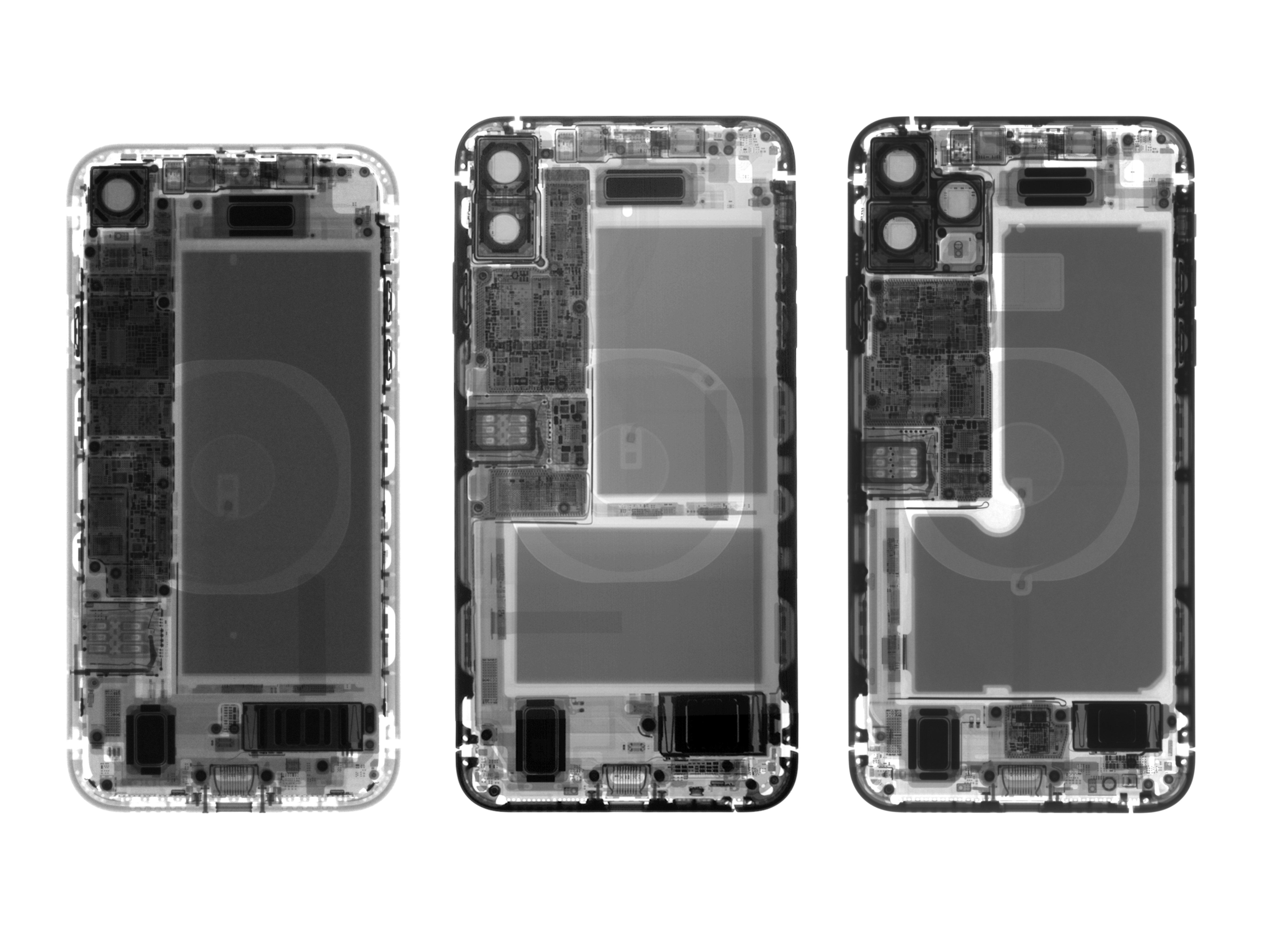 iPhone 11, 11 Pro y 11 Pro Max vistos a rayos x