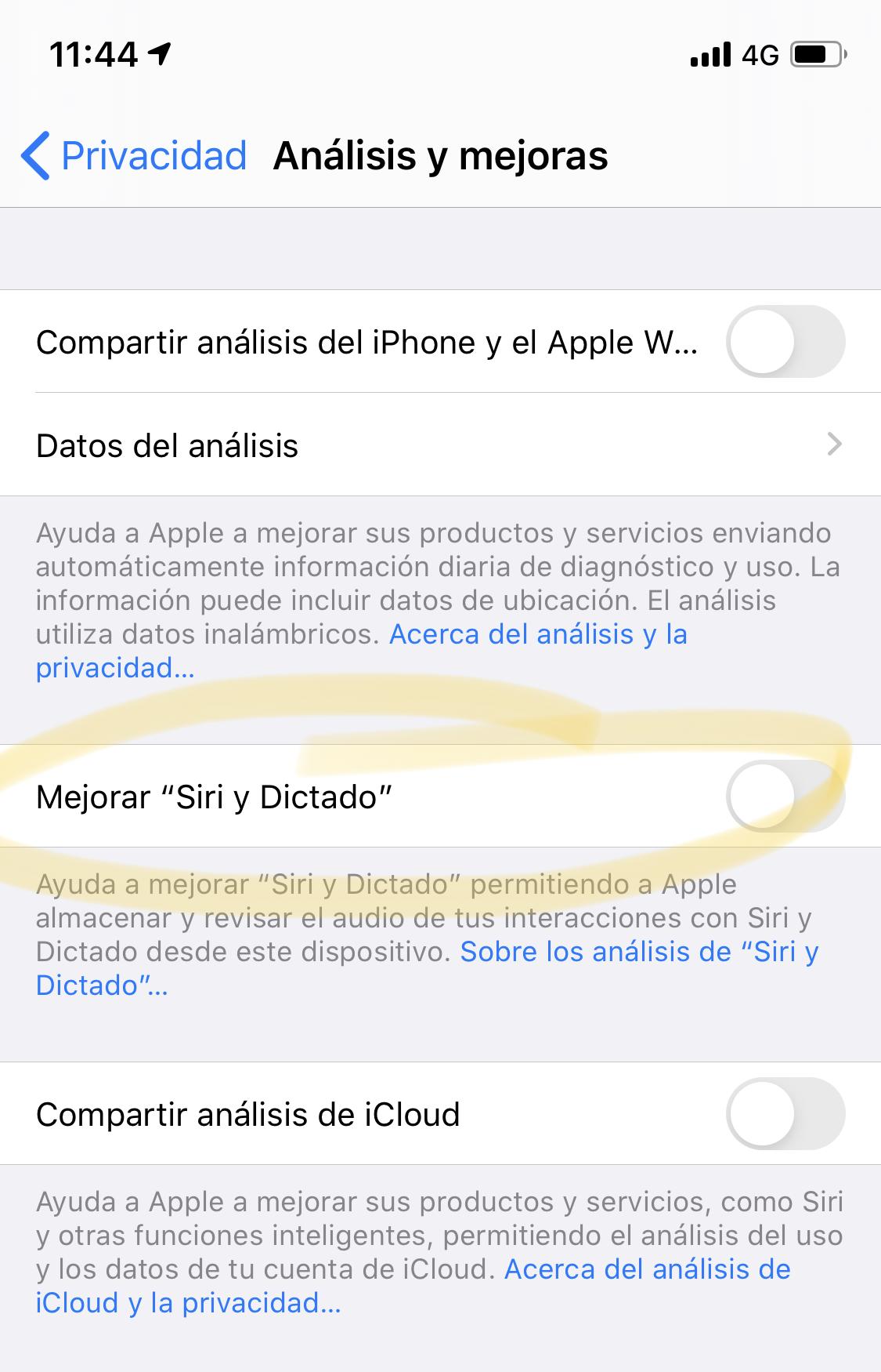 Desactivar escuchas de Siri y dictado en iOS