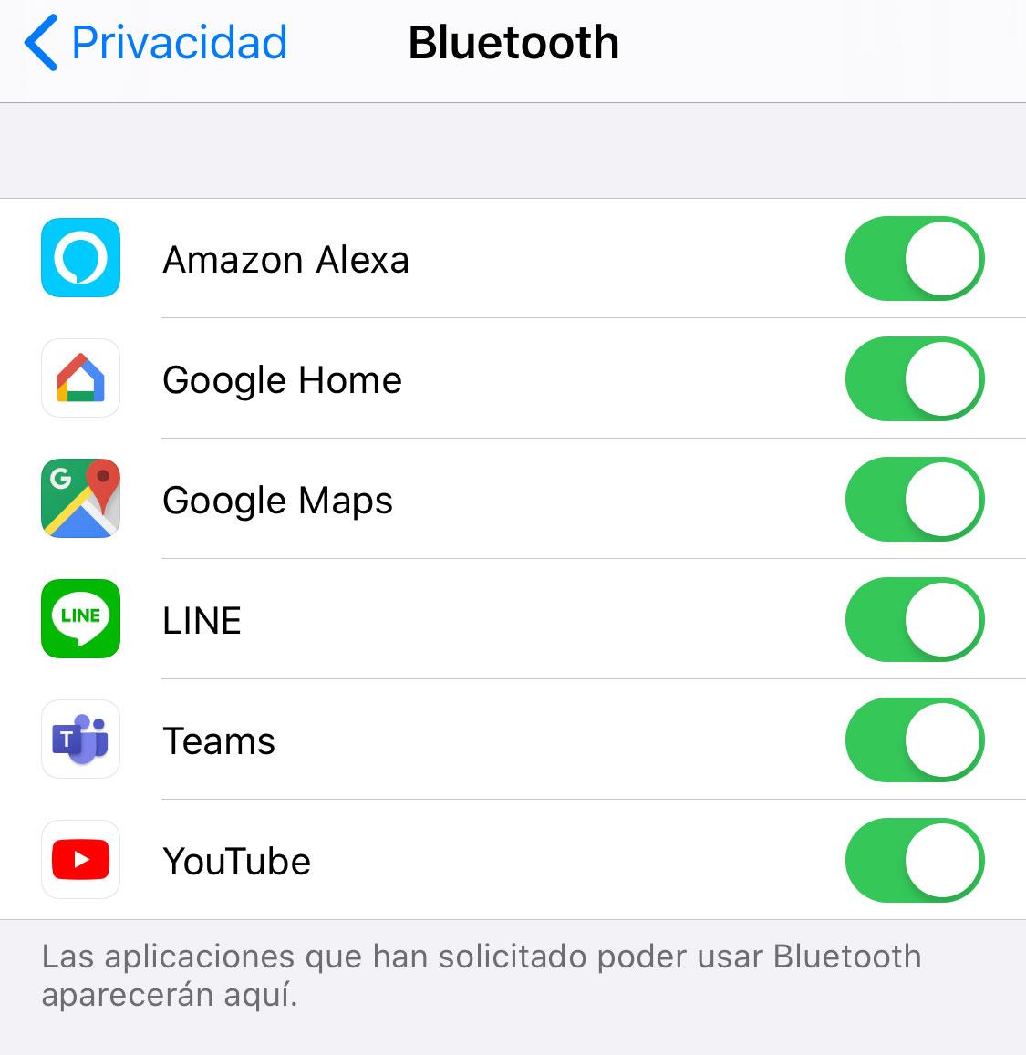 Permisos de acceso a la radio Bluetooth de la App de Ajustes en iOS