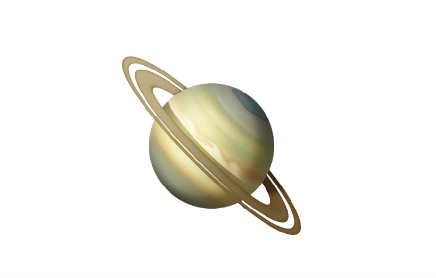Emoji de planeta que llegará con iOS 13.2 (vía emojipedia)