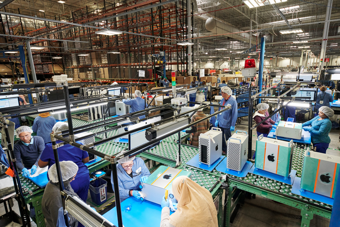 Mac Pro siendo ensamblado en la fábrica de Apple en Ausstin, Texas, EEUU