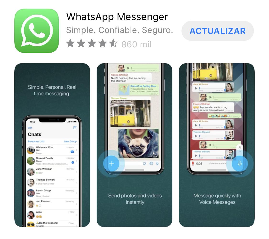 Actualización de WhatsApp disponible