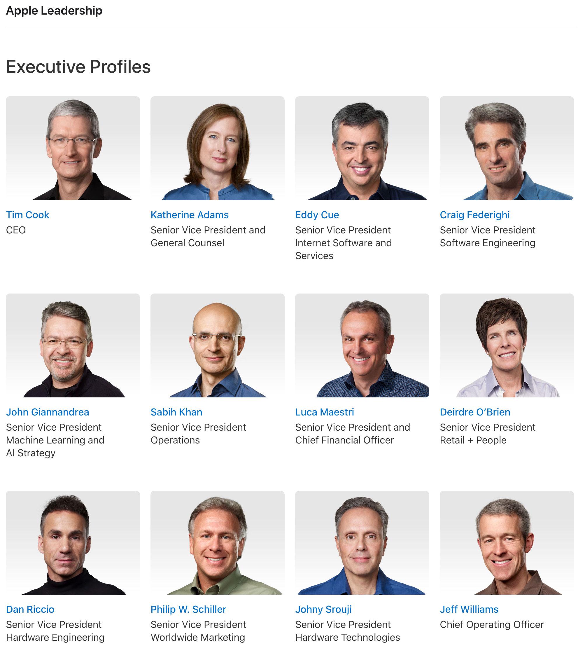 Directivos más importantes de Apple en noviembre de 2019