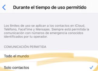Límites de comunicación en la App de Ajustes - Tiempo de uso