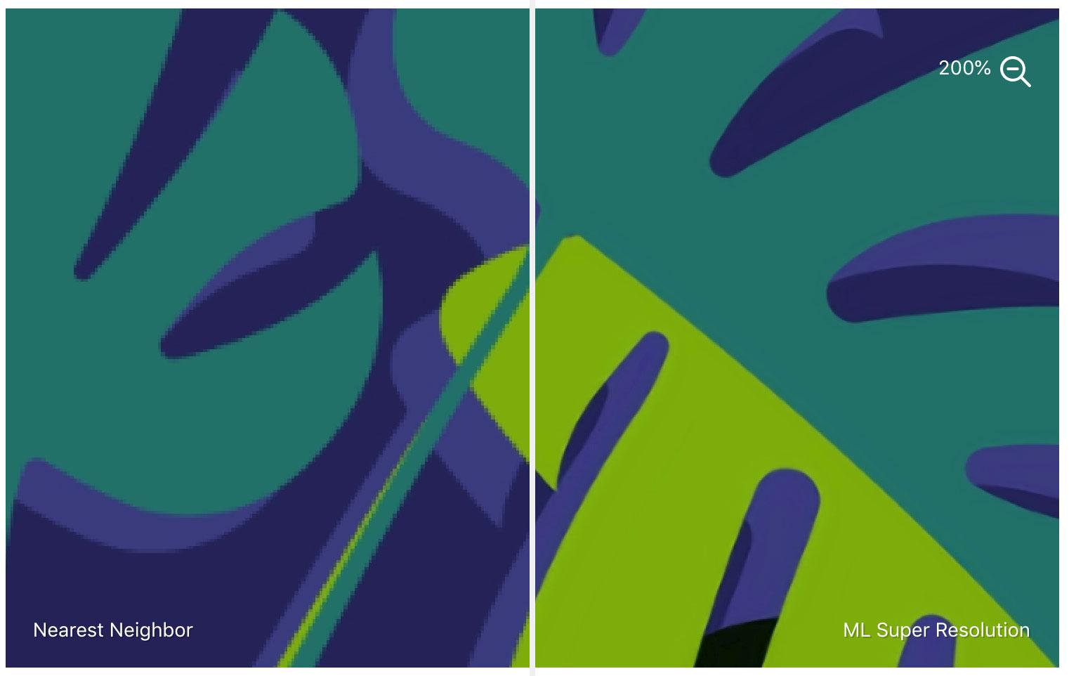 Comparación de imágenes con escalado machine learning de Pixelmator y normal