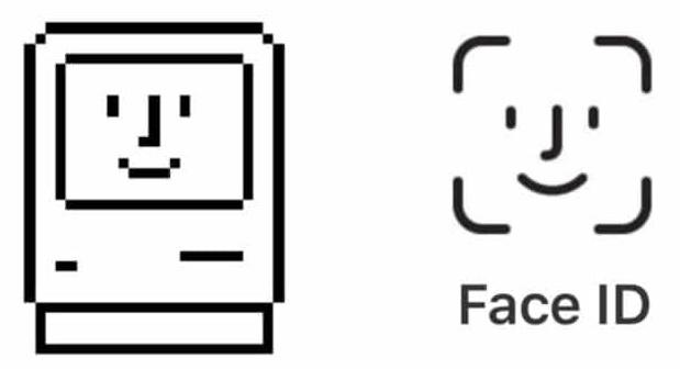 Logo de Face ID y del Mac feliz de Susan Kare
