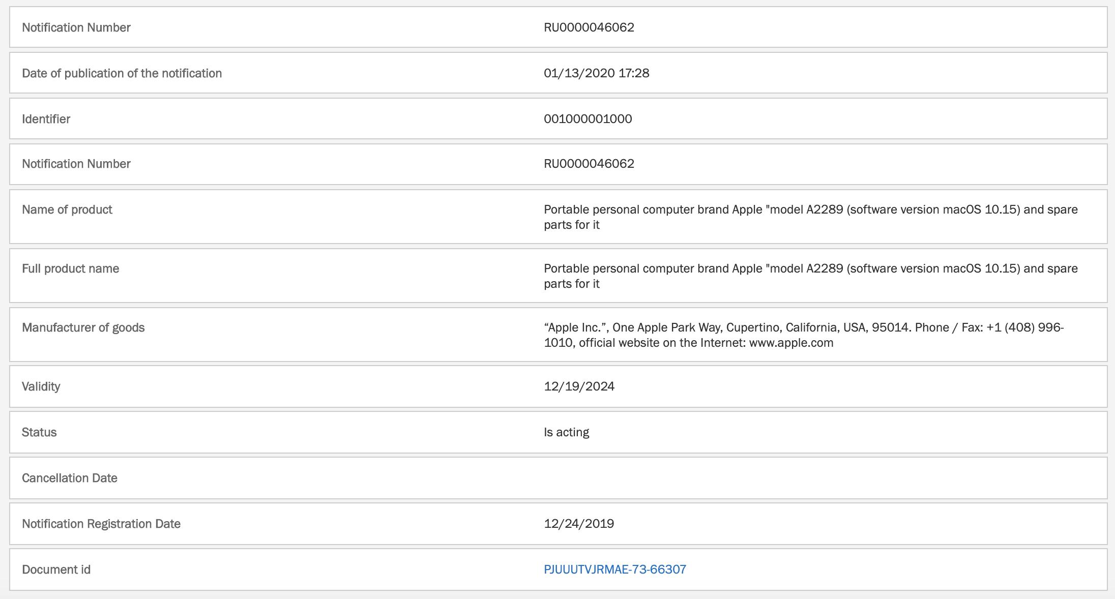 Registro en la Eurasian Economic Commission de un hipotético nuevo MacBook