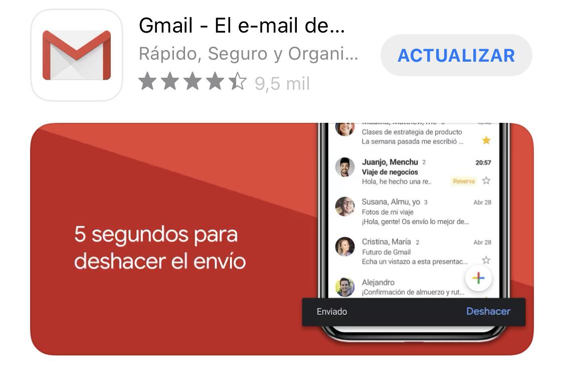 App de Gmail lista para actualizarse