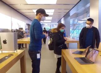 Apple Store en Pekín, con medidas de seguridad contra el Coronavirus