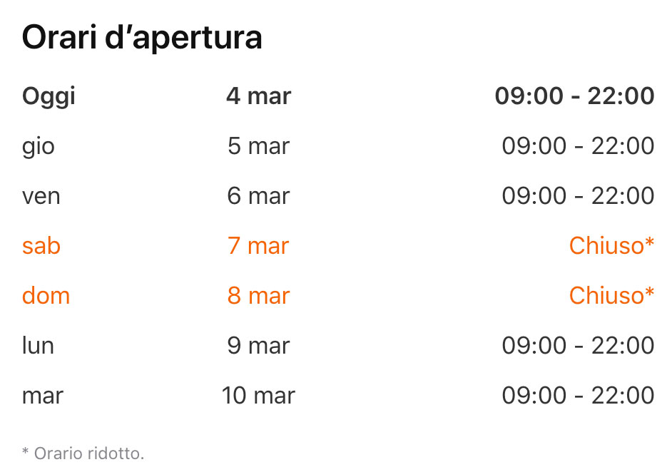 Horario de la tienda Oriocenter en Italia