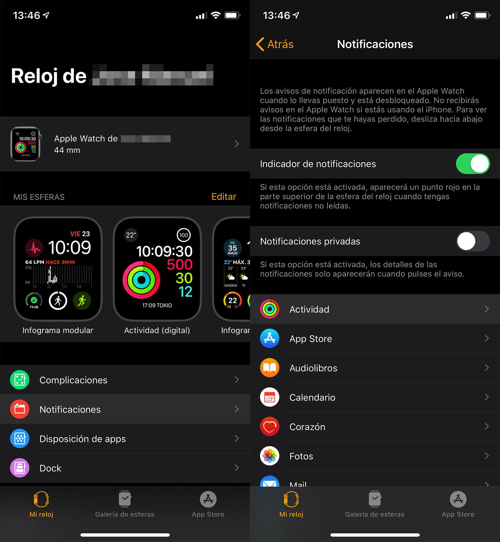 Notificaciones de Actividad del Apple Watch en la App del reloj