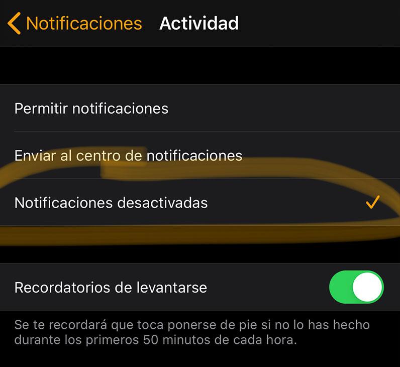 Desactivando notificaciones de actividad deportiva del Apple Watch