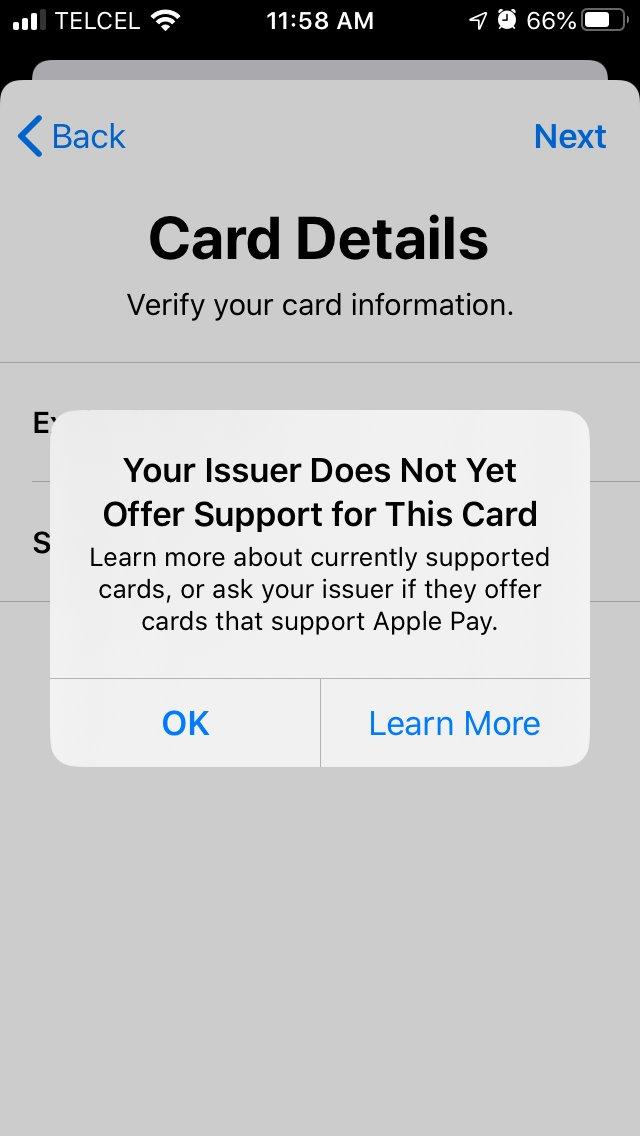 Tarjetas de Banregio siendo rechazadas en Apple Pay