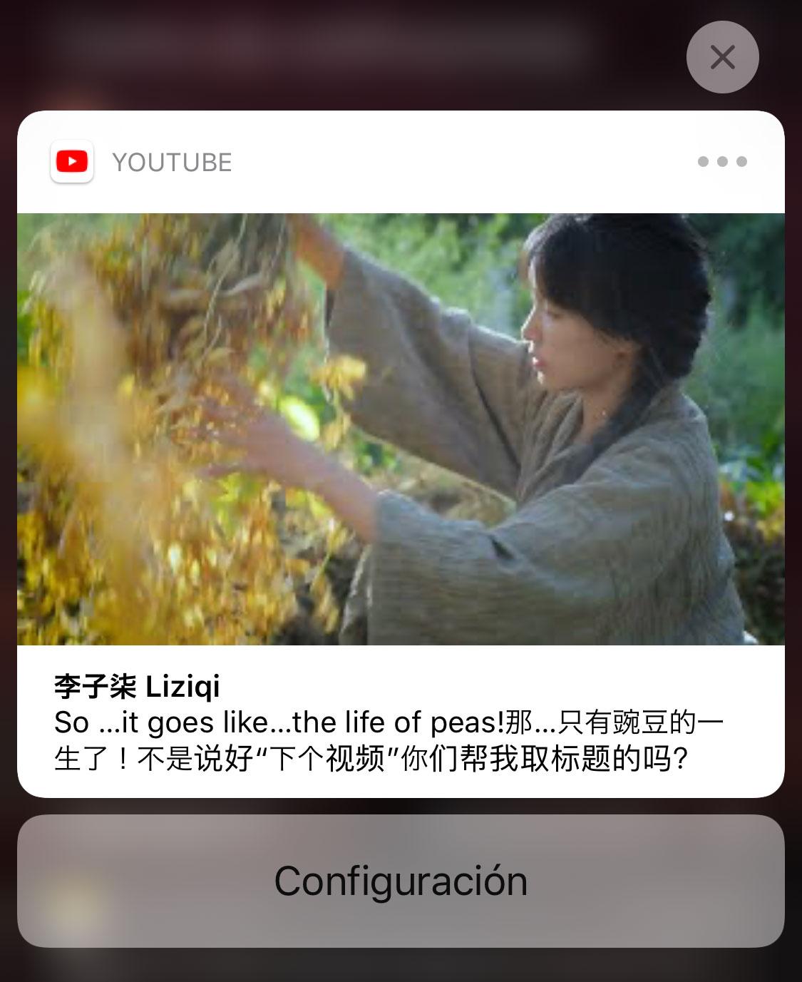 3D Touch o Haptic Touch en una notificación de YouTube