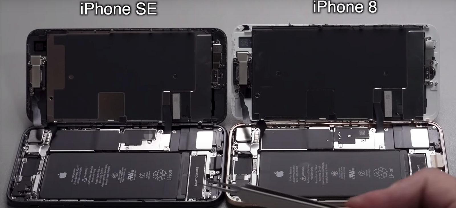iPhone SE del 2020 y iPhone 8 por dentro