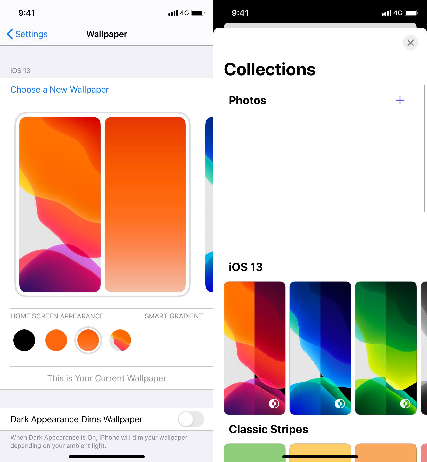 Ajustes de cambio de fondo de pantalla de una beta filtrada de iOS 14