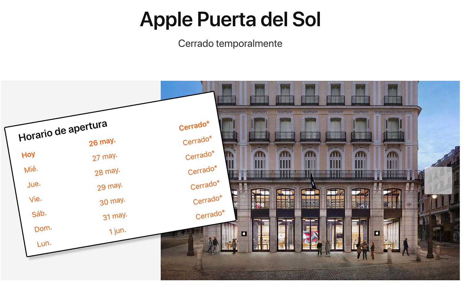 Apple de la Puerta del Sol cerrada debido al Coronavirus