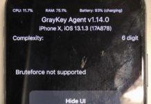 GrayKey funcionando en un iPhone X