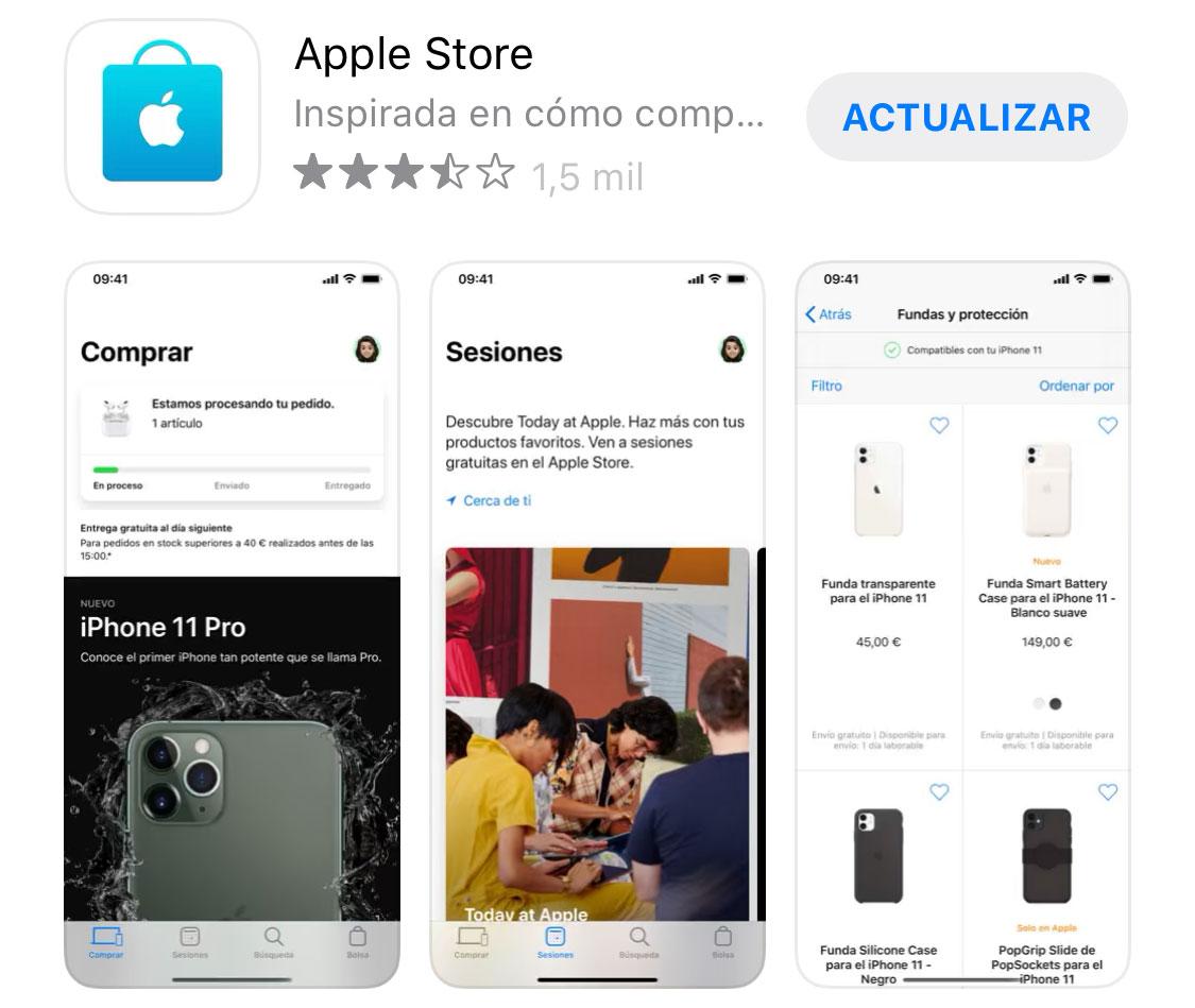 App de la Apple Store lista para actualizarse