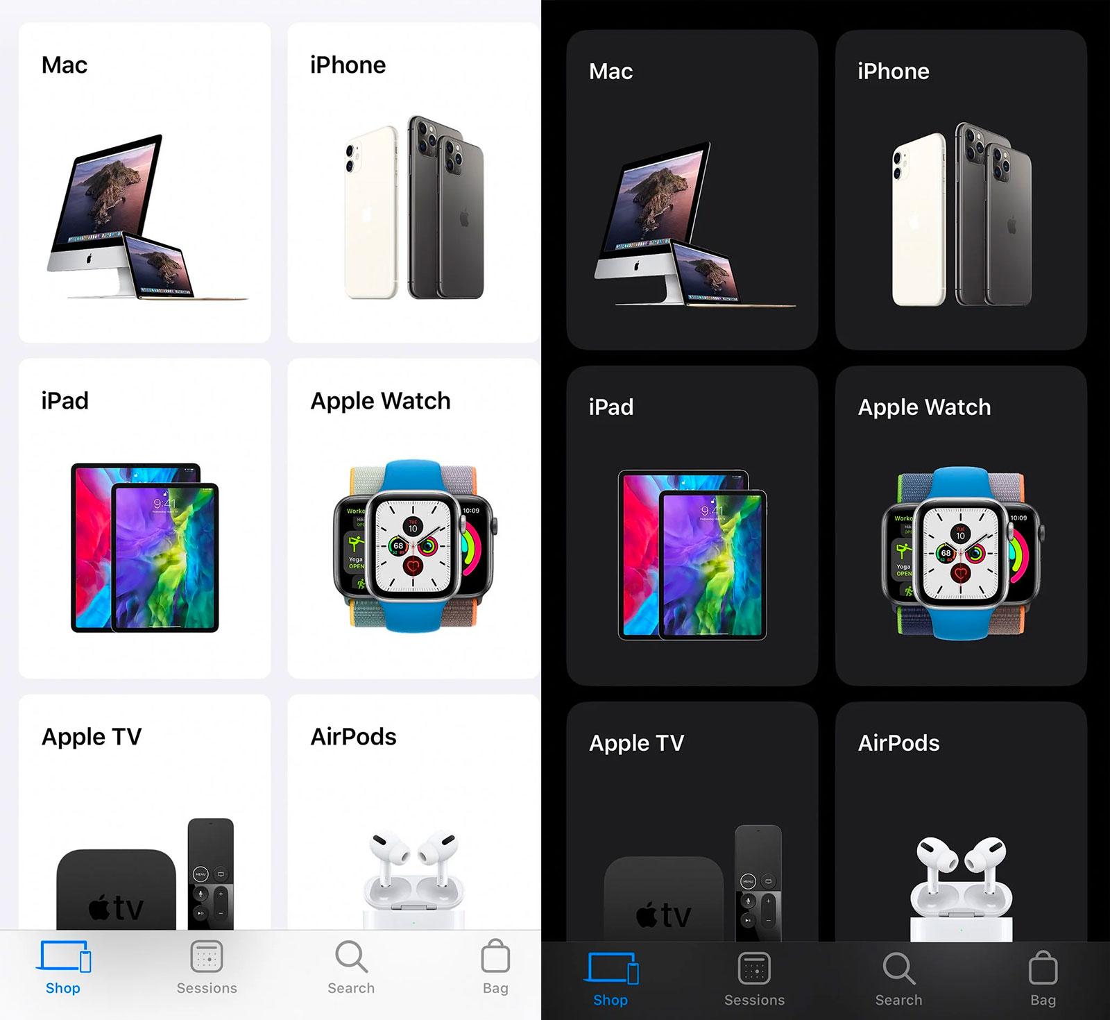 Modo oscuro de la App de la Apple Store
