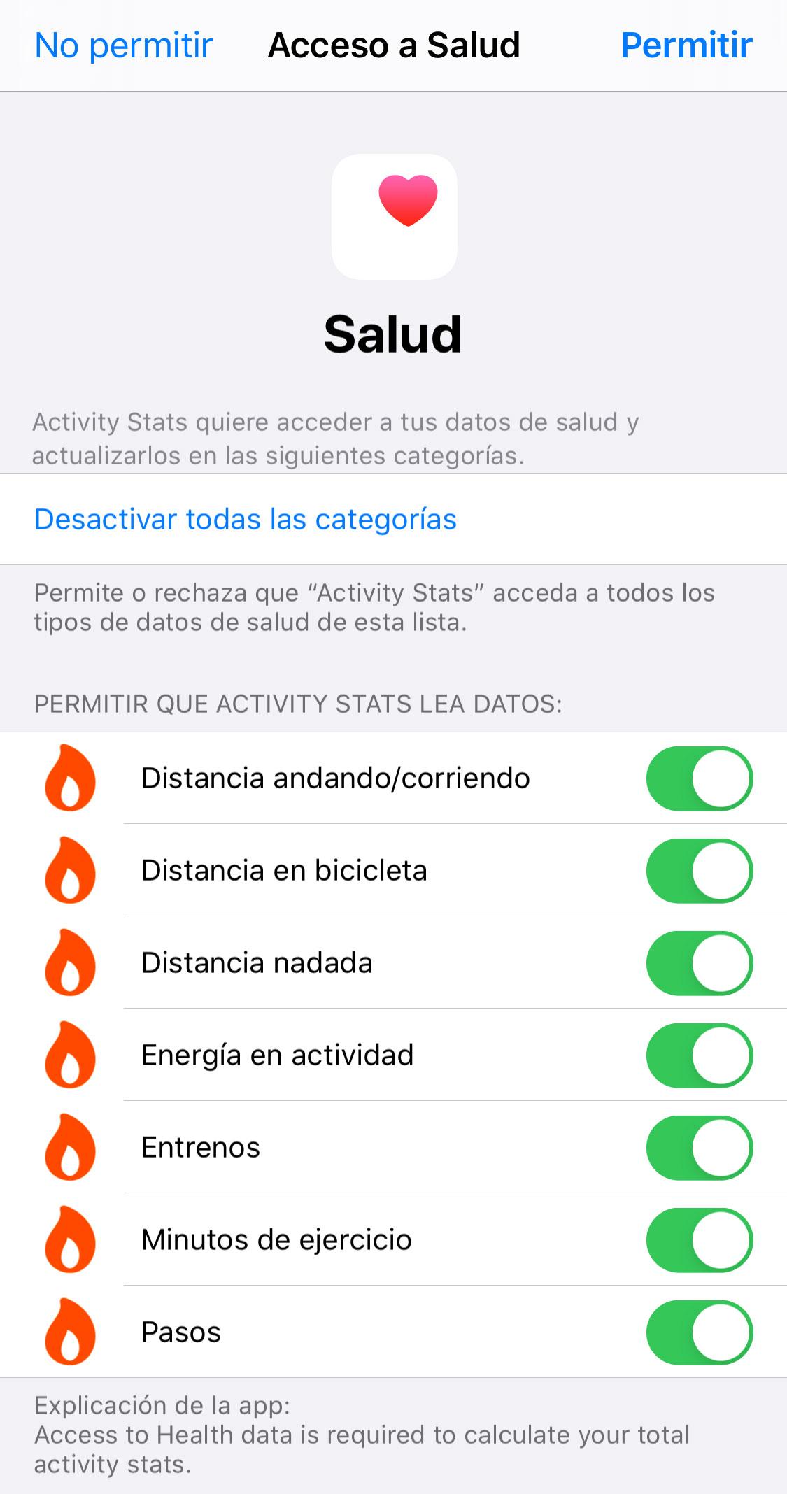 Dando permisos para acceder a datos dentro de la App de Salud