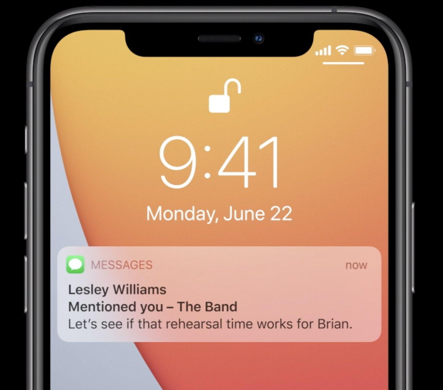 Notificación de una mención en la App de Mensajes