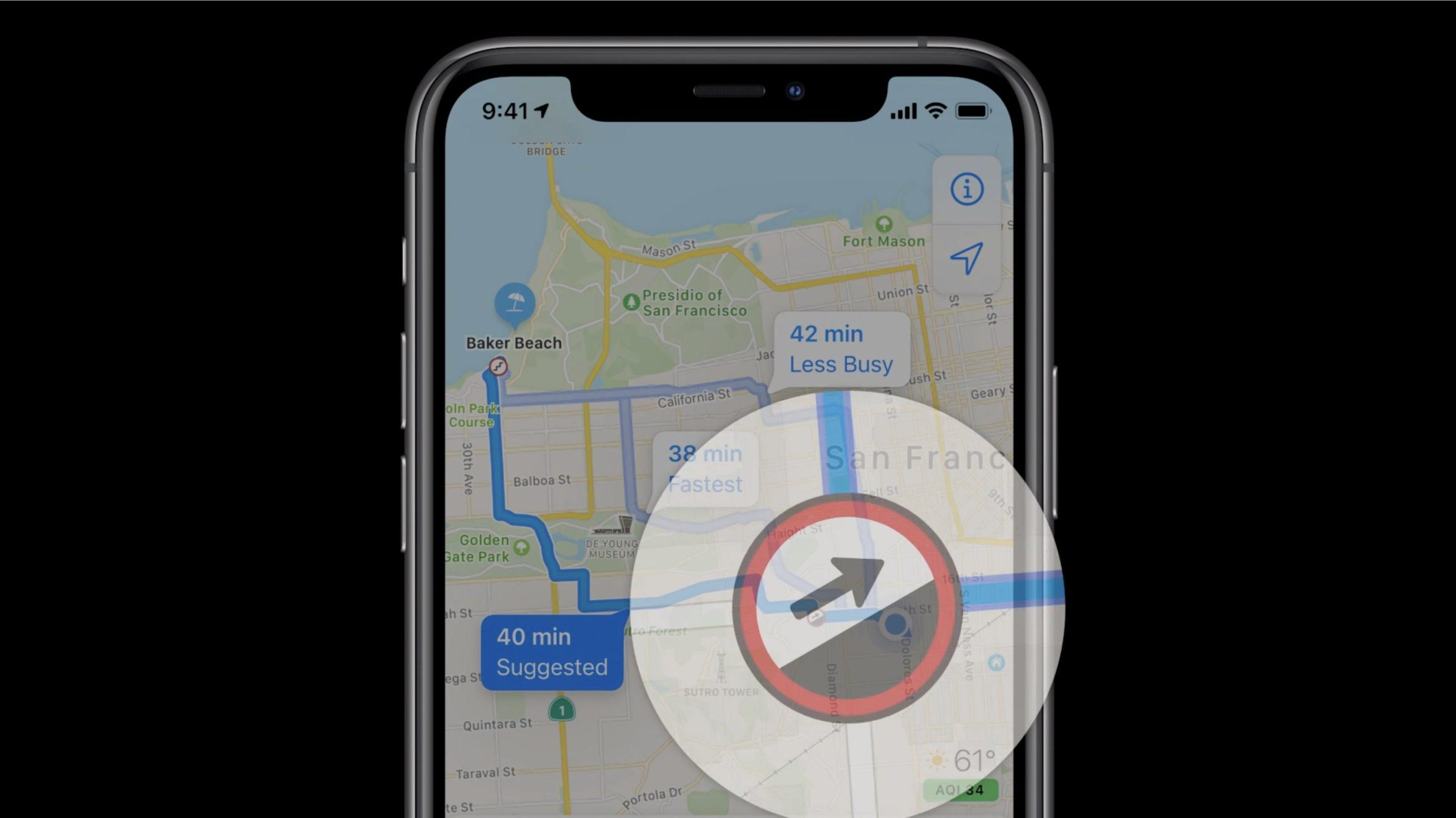 Información para personas con deficiencias físicas en los mapas de Apple