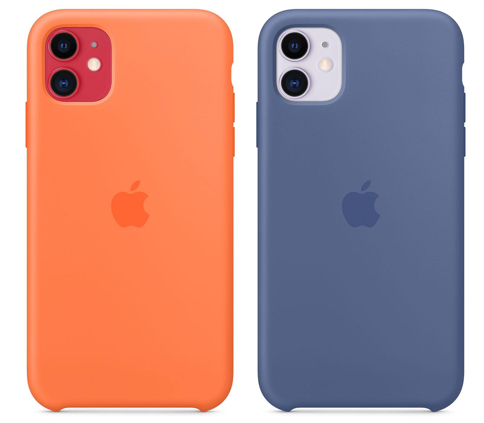 Funda de silicona de Apple en color vitamina c y azul lino