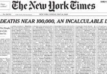 Portada del New York Times en tiempos de Coronavirus
