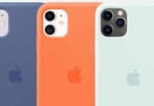 Funda de silicona de Apple en color vitamina c, azul lino y espuma de mar