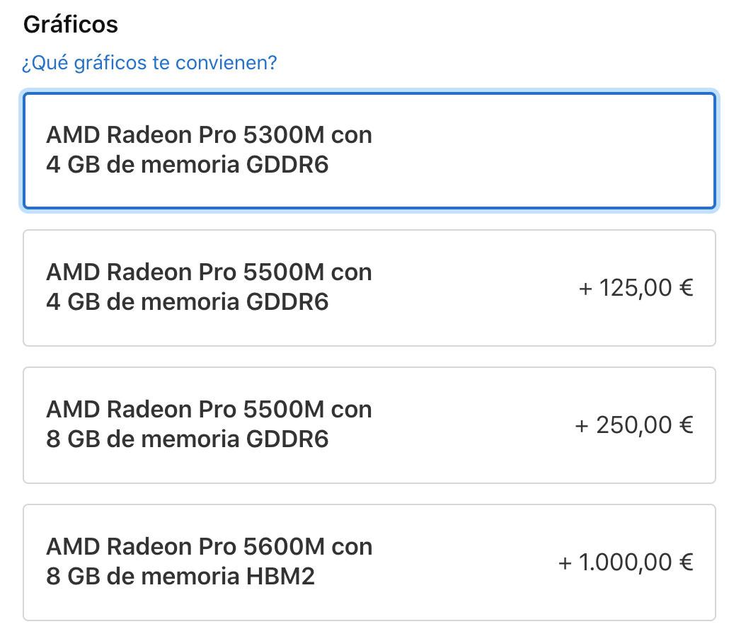 Precio de la AMD Radeon Pro 5600M en el MacBook Pro