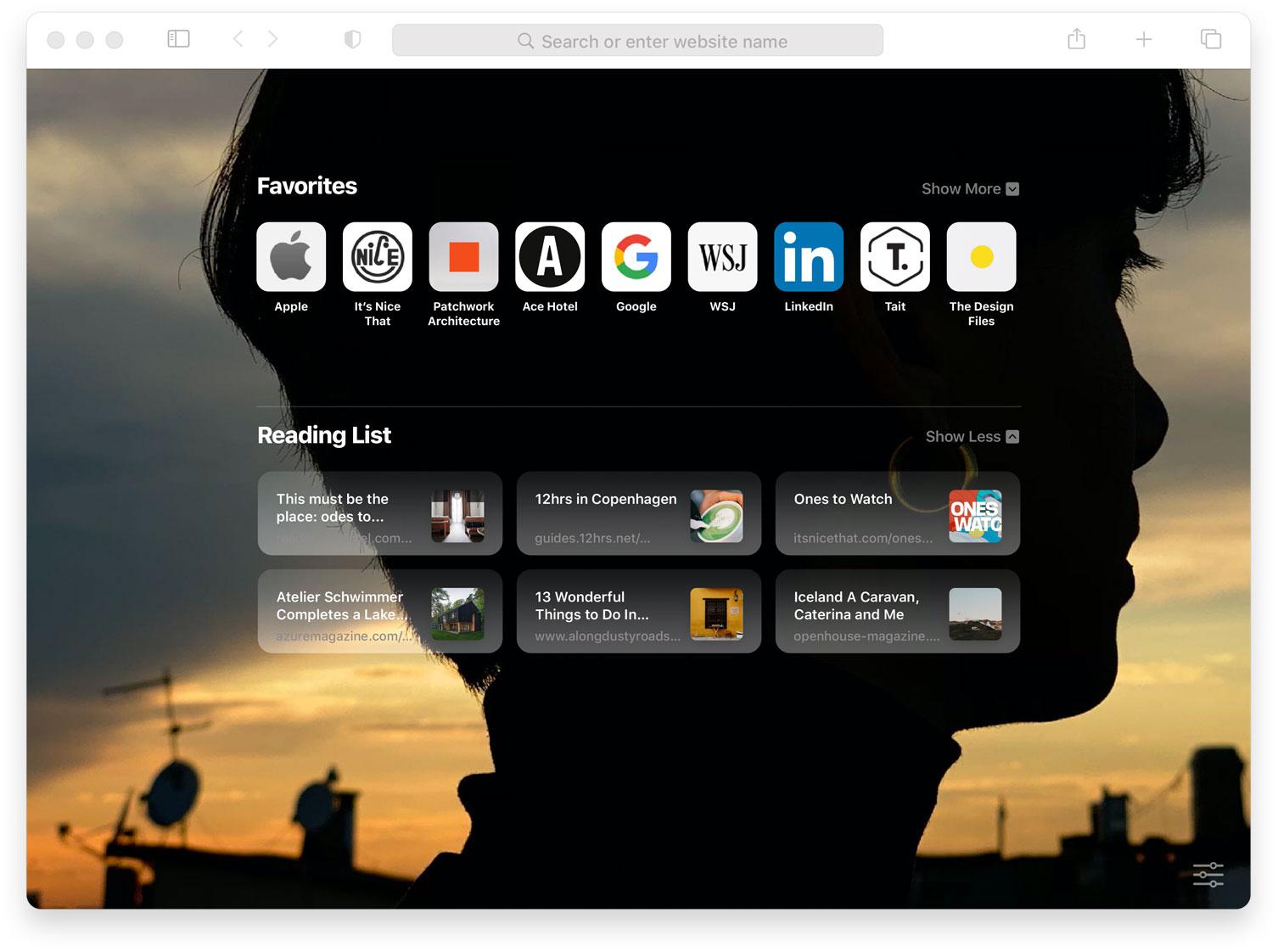 Pantalla de inicio personalizada de Safari en macOS Big Sur