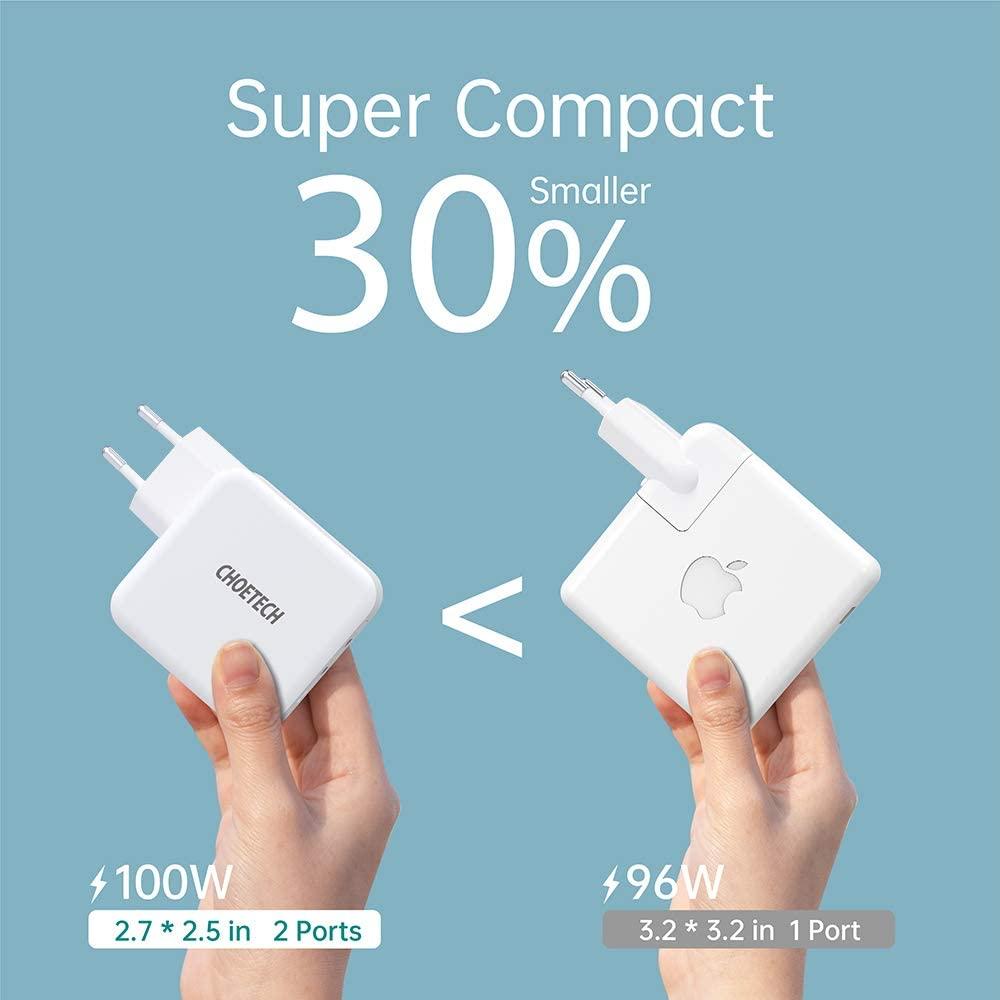 Cargador USB-C doble de 100W para carga rápida