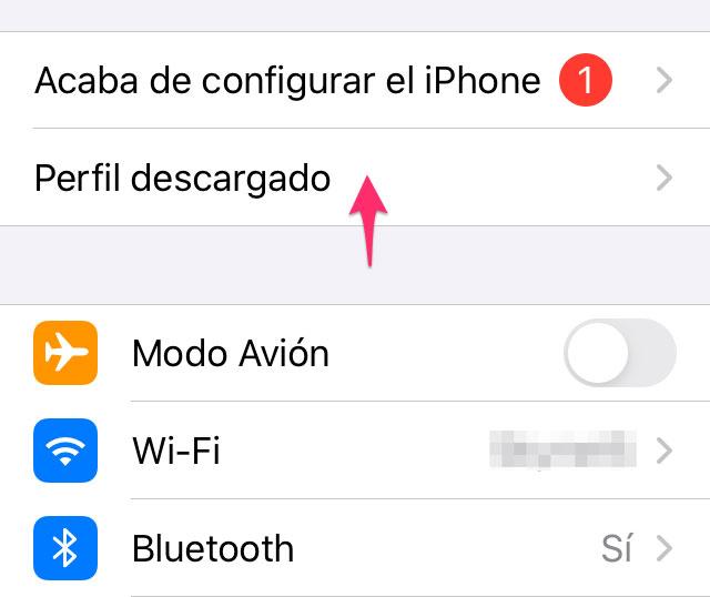 Perfil de betas de iOS descargado