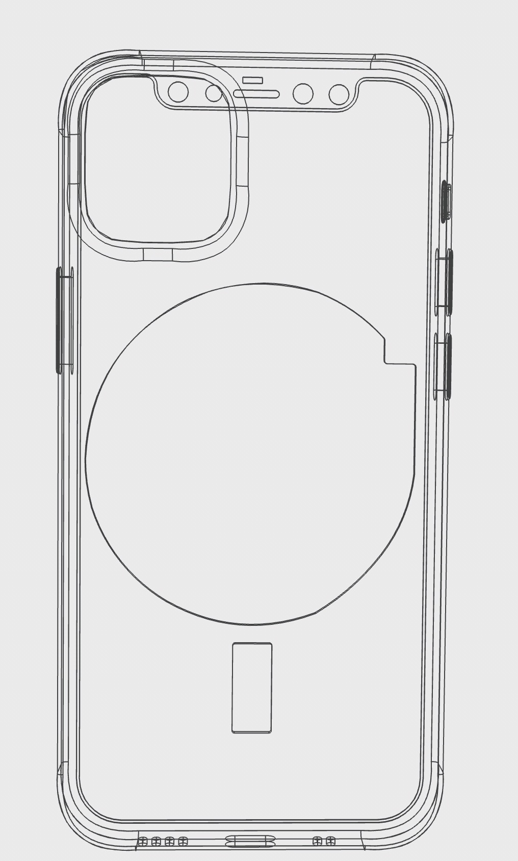 Supuesto nuevo sistema de imanes para la parte trasera del iPhone 12