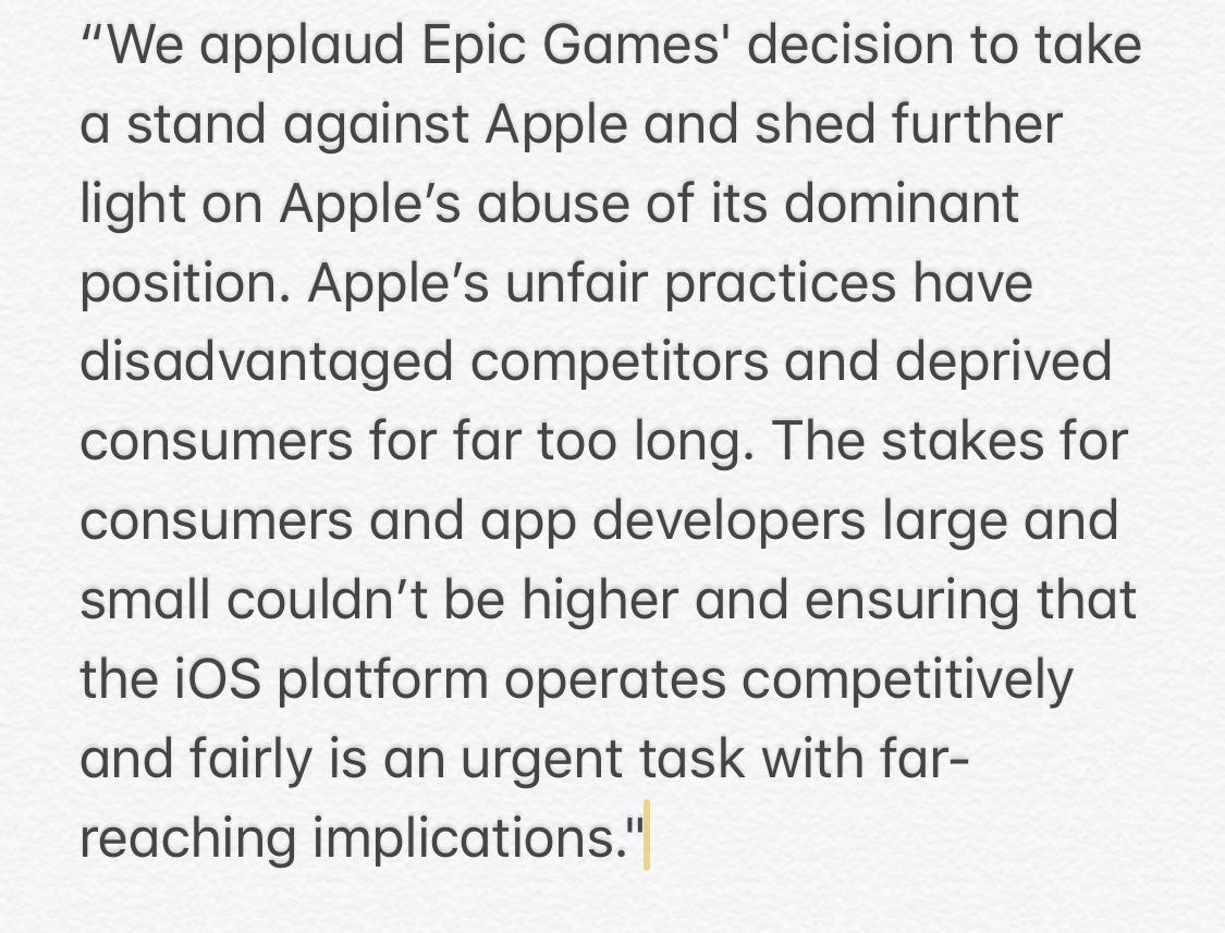 Spotify apoya a Epic Games