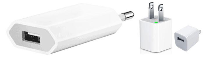 Diferentes cargadores de 5W de Apple en función del país en donde lo hayas comprado