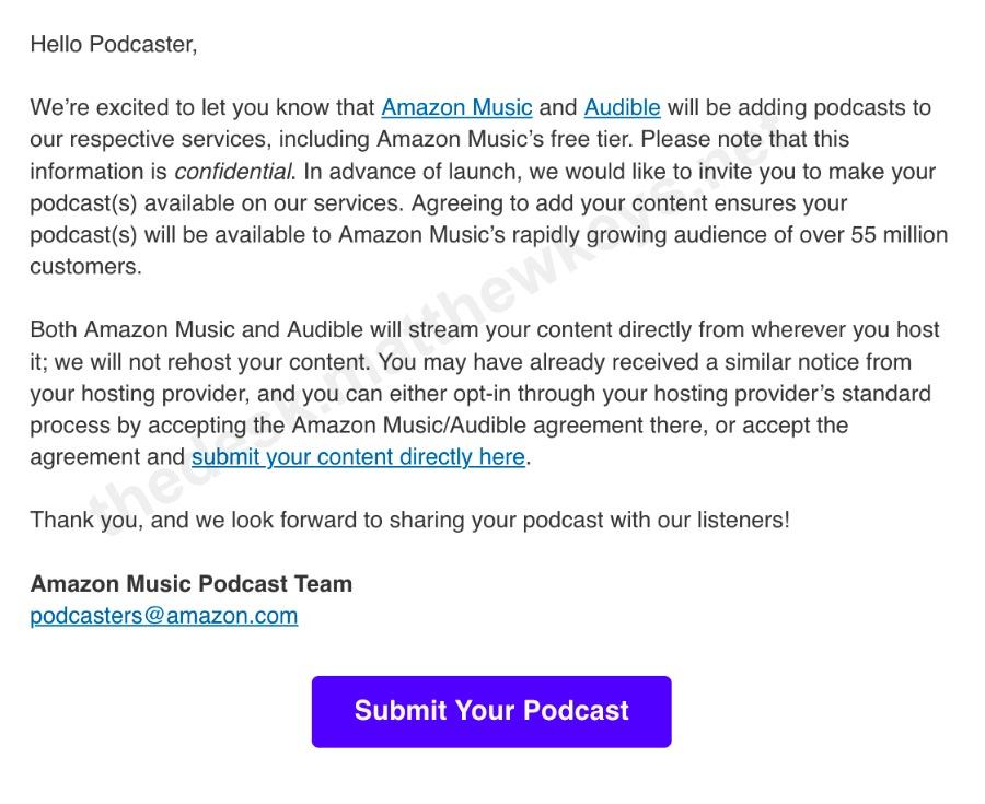 Email de Amazon para buscar podcasters
