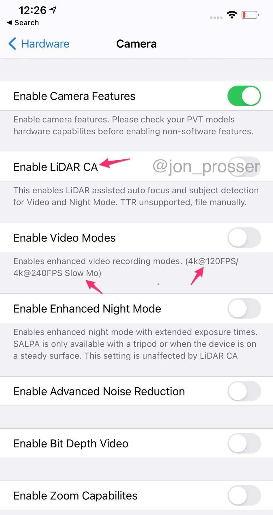 Ajustes de la Cámara en un iPhone 12 Pro PVT