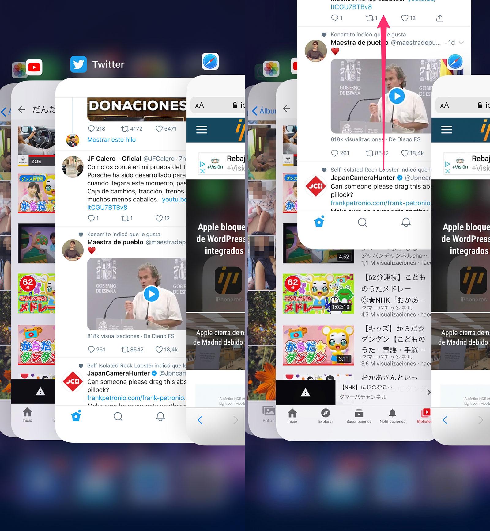 Apps abiertas recientemente, el mal llamado modo multitarea de iOS