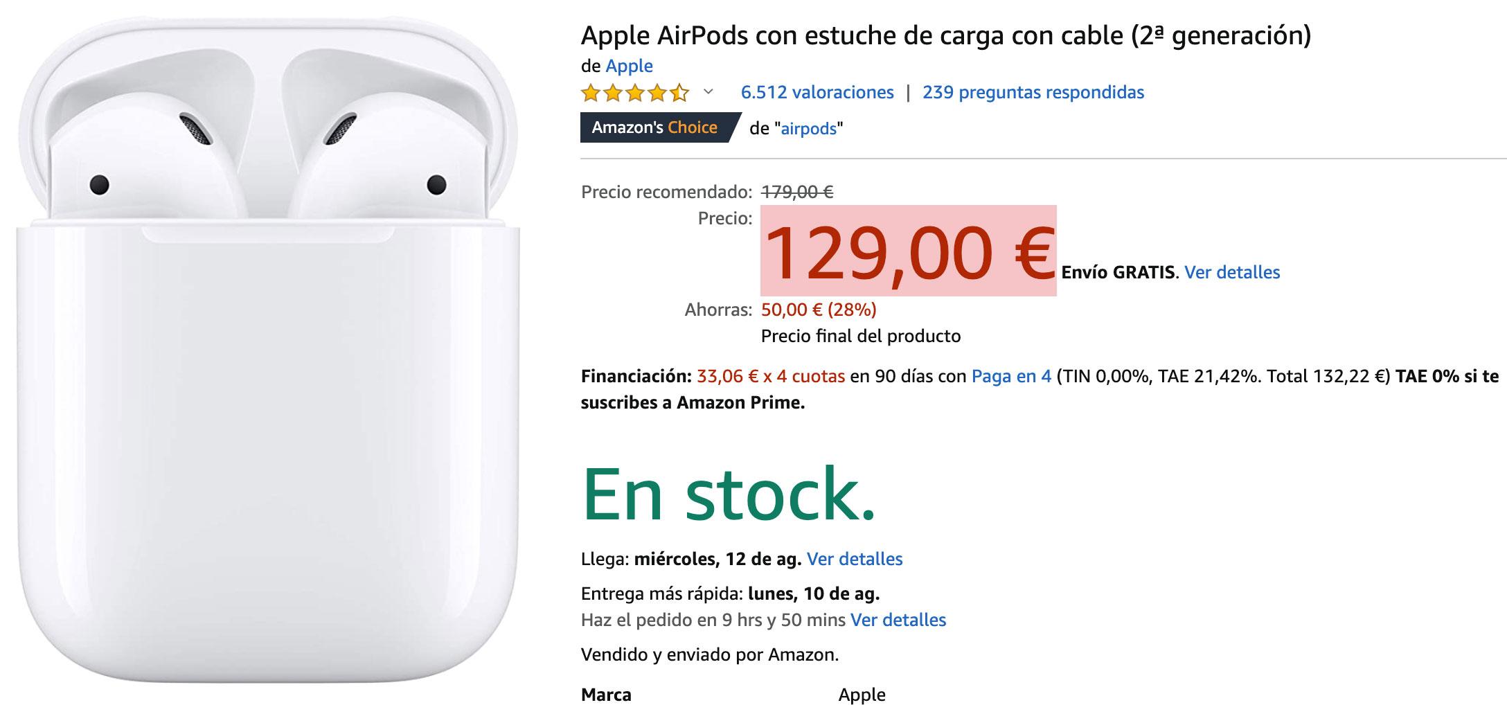 Precio rebajado de los AirPods en Amazon