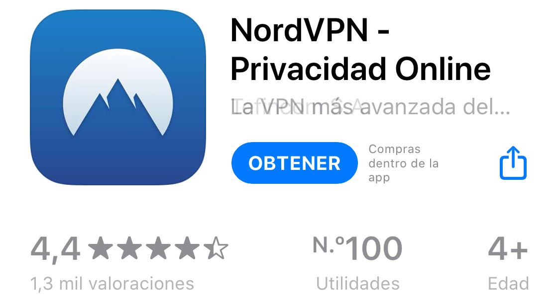 Valoración de NordVPN en la App Store
