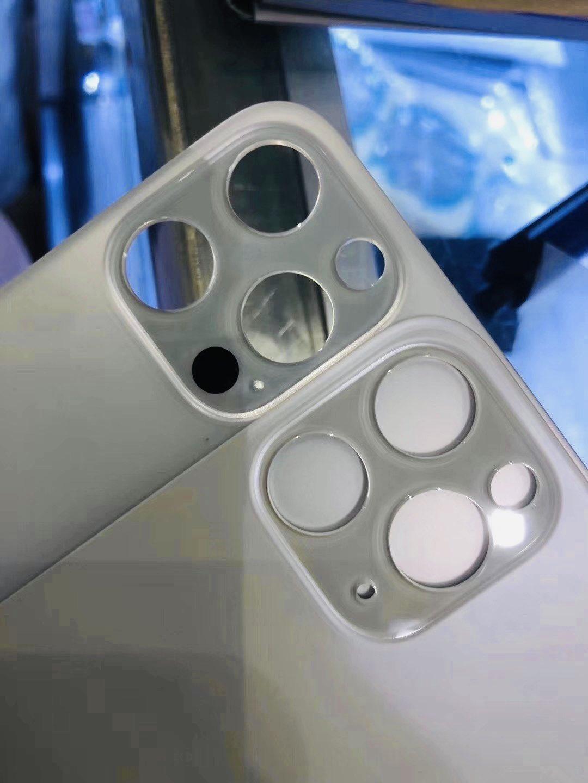 Supuesta pieza de la carcasa trasera del iPhone 12 Pro con un orificio más, supuestamente para el escáner LiDAR