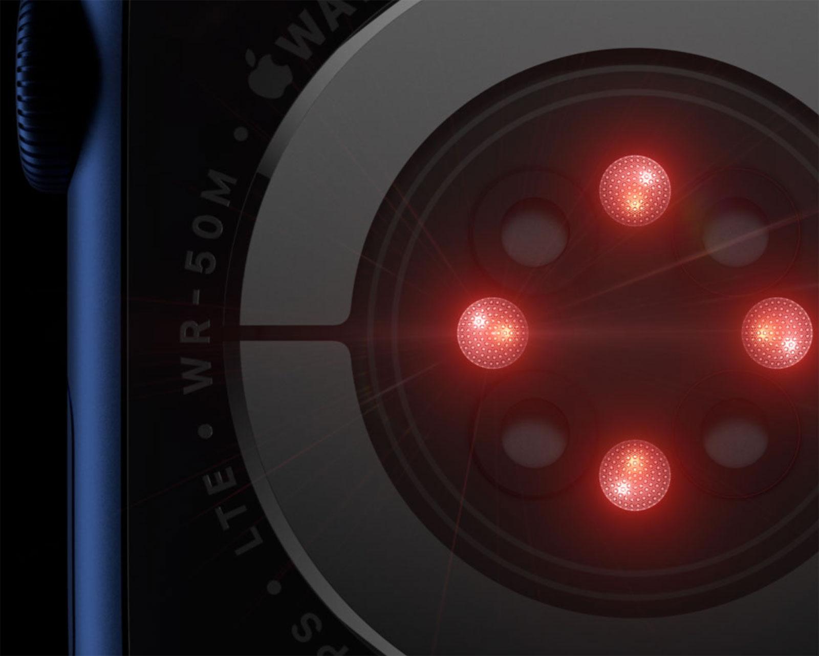 Sensores de luz infrarroja para medir saturación de oxígeno en sangre con el Apple Watch Series 6
