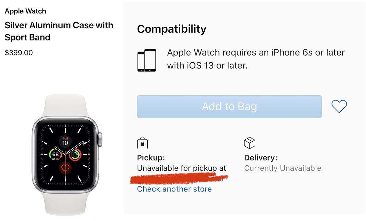 Apple Watch Series 5 no disponible